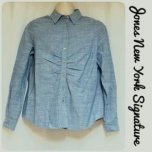 Jones New York Signature Chambray Top Size L